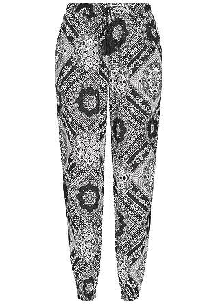 19033a56f4b7b9 Seventyseven Lifestyle Damen Sommer Hose Mandala Muster 2 Taschen Schwarz  Weiss: Amazon.de: Bekleidung