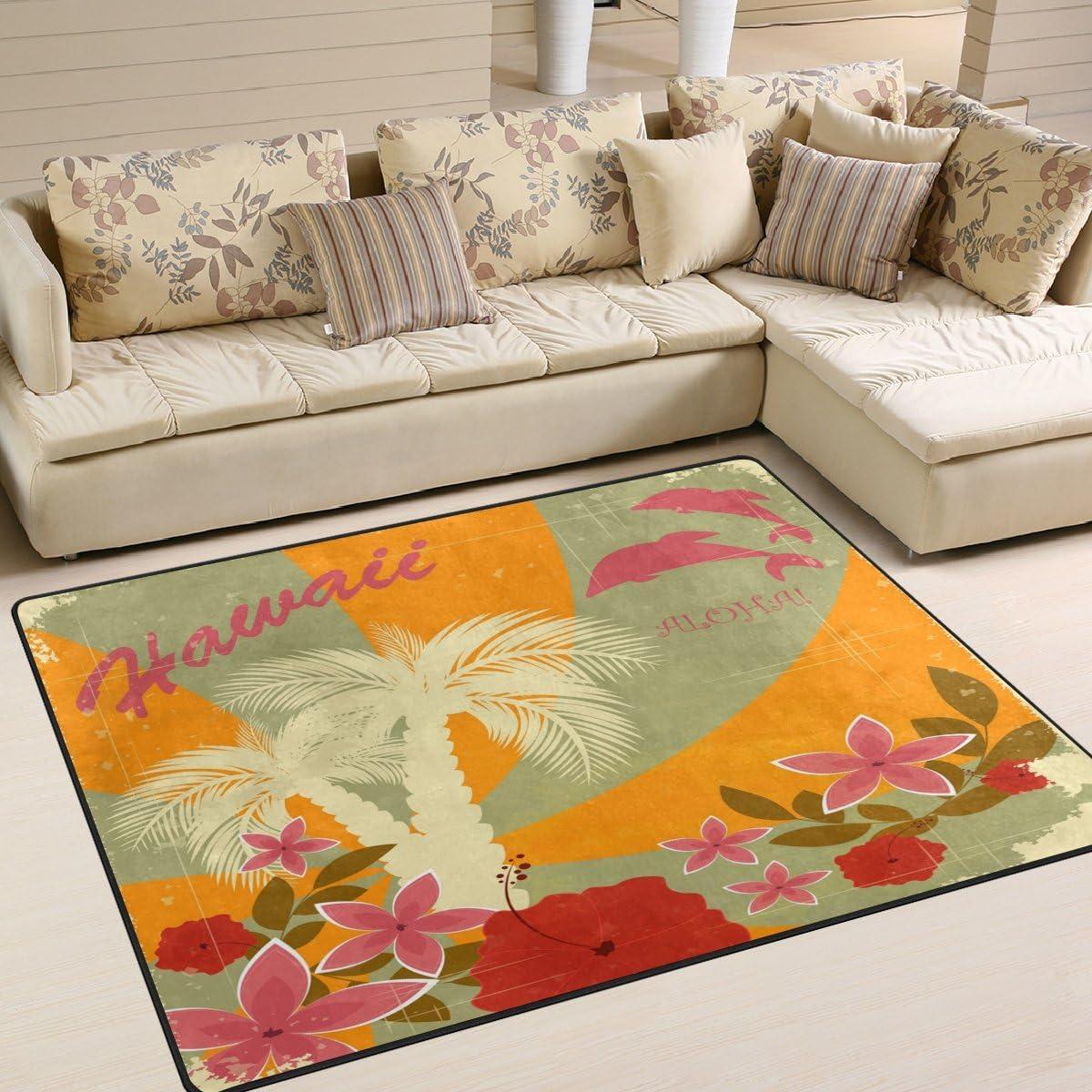 LORVIES Hawaiian Area Rug Carpet Non-Slip Floor Mat Doormat