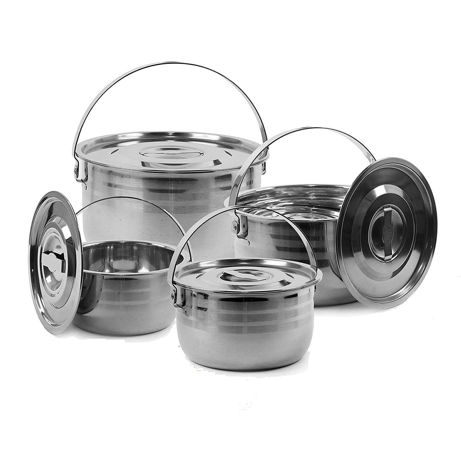 3. Wealers Camping Cookware Set - Compact Stainless Steel Campfire Cooking Pots and Pans