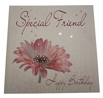 WHITE COTTON CARDS Code XLWB15 Special Friend Happy Birthday Handmade Large Card Flower Pink Amazoncouk Kitchen Home