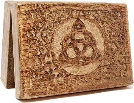 Caja de Tarot de madera sólida con triqueta celta tallada Sólido 17,68 cm x 12,60 cm.: Amazon.es: Hogar