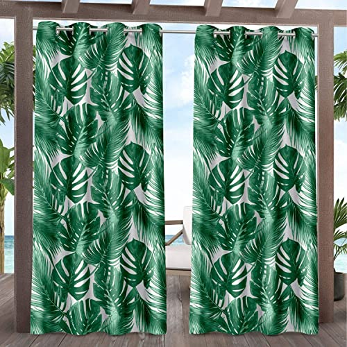 Exclusive Home Curtains EH8478-01-2108G Jamaica Palm Indoor/Outdoor Light Filtering Grommet Top Curtain Panel Pair