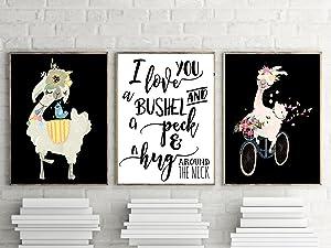 I Love You A Bushel And a Peck & A Hug Around The Neck Llama Wall Art Decor (Set of Three)