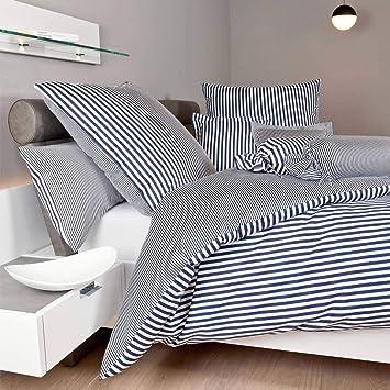 Janine Design Streifen Bettwäsche Modern Classic Dunkelblau