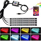 Car Interior Lights, CJRSLRB APP Bluetooth Control USB Powered LED Light Strip 4pcs RGB 48 LED Multicolor Underdash Lighting Kit with Sound Active