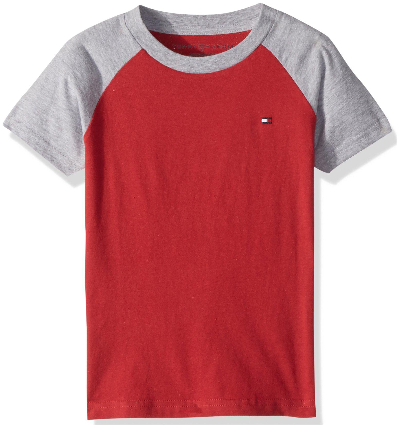 98cd0e3a Galleon - Tommy Hilfiger Boys' Big Short Sleeve Raglan T-Shirt, Regal Red,  Medium