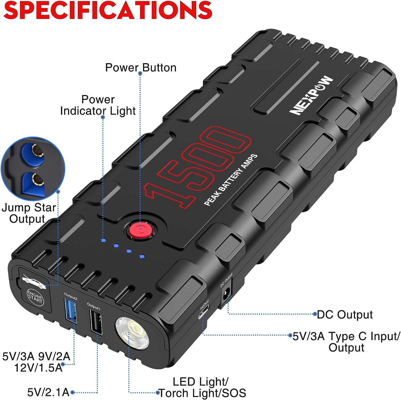 1500A Peak Jump Starter Car Battery Booster Pack All Gas 6.5L Diesel Engine