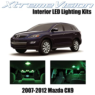 Xtremevision Interior LED for Mazda CX9 2007-2012 (10 Pieces) Green Interior LED Kit + Installation Tool Tool: Automotive