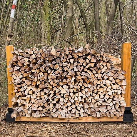 Yongirl Kit de soporte para le/ña para exteriores ajustable a cualquier longitud soporte de madera para chimenea