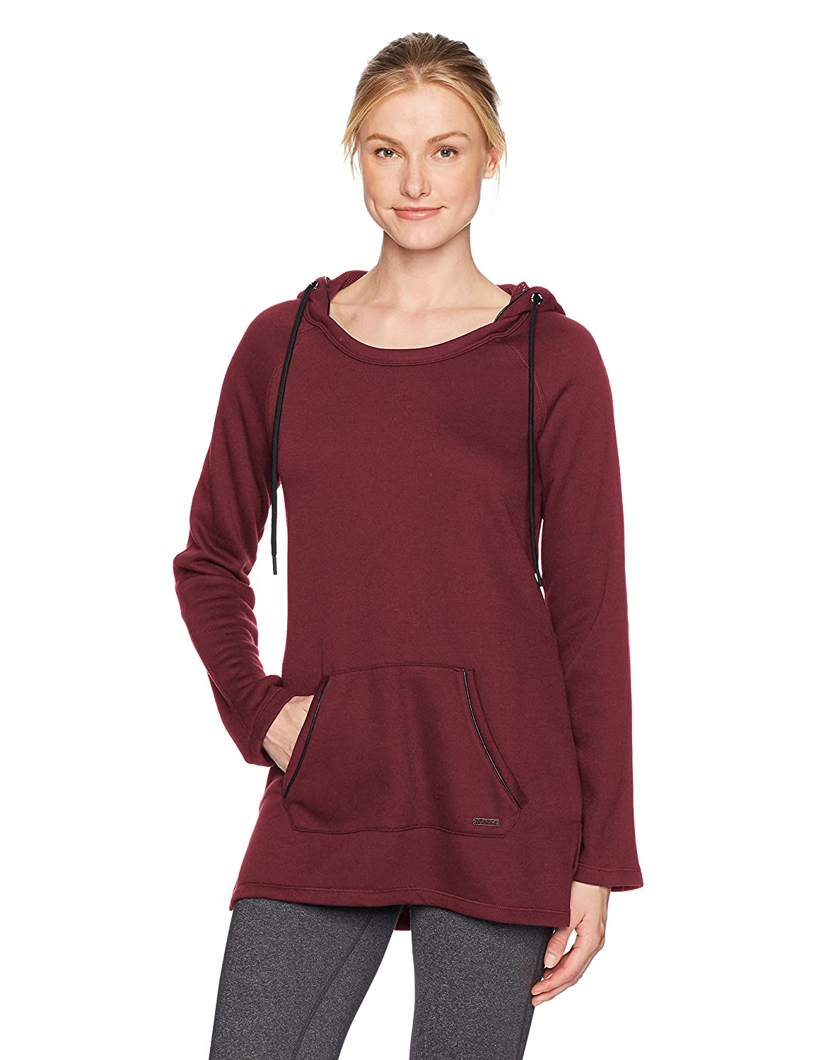 Marc New York Performance Womens Long Sleeve Hooded Tunic with Pu Piping