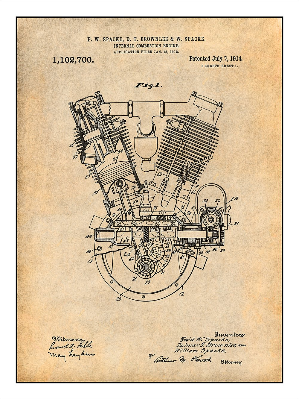 1914 Spacke V Twin Motorcycle Engine Patent Print Art Combustion Diagram For Idiots Poster Unframed Parchment 18 X 24 Posters Prints