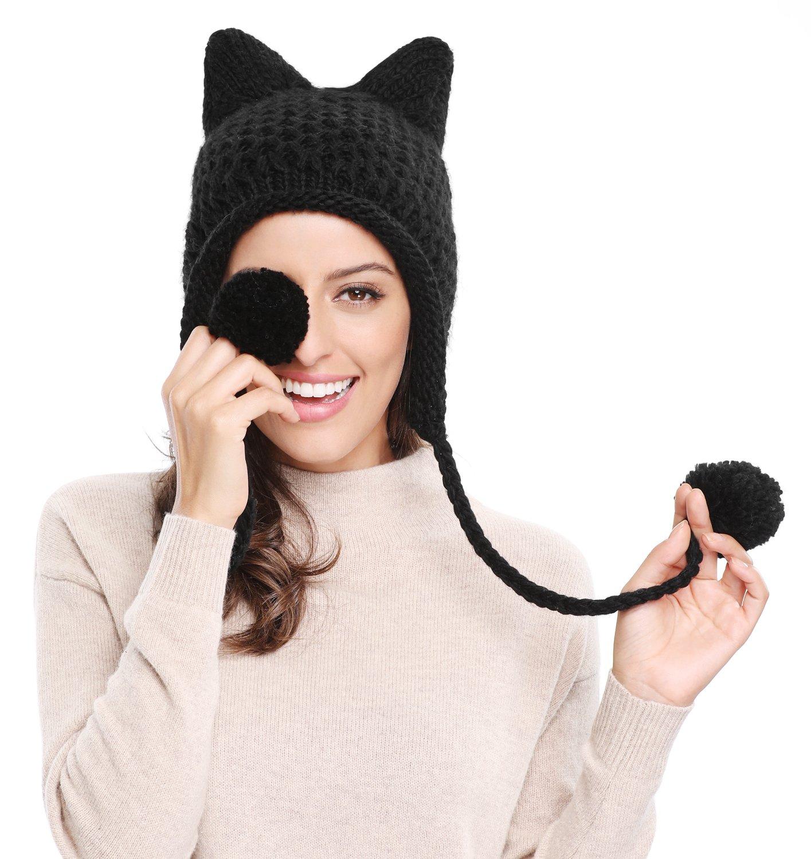 80e4aed2d Details about Bellady Winter Cute Cat Ears Knit Hat Ear Flap Crochet Beanie  Hat, Black