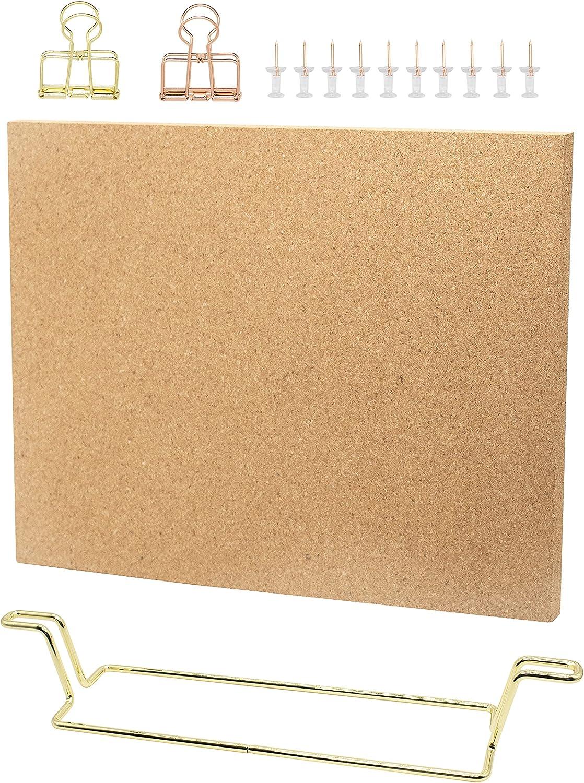 12.6x9 Inches Desktop Cork Board with Stand, Memo Board Bulletin Board Picture Board for Office Home Decor (Gold)