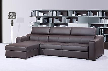 Ju0026M Furniture Ritz Brown Italian Leather Sleeper Sofa With Adjustable  Headrests U0026 Storage