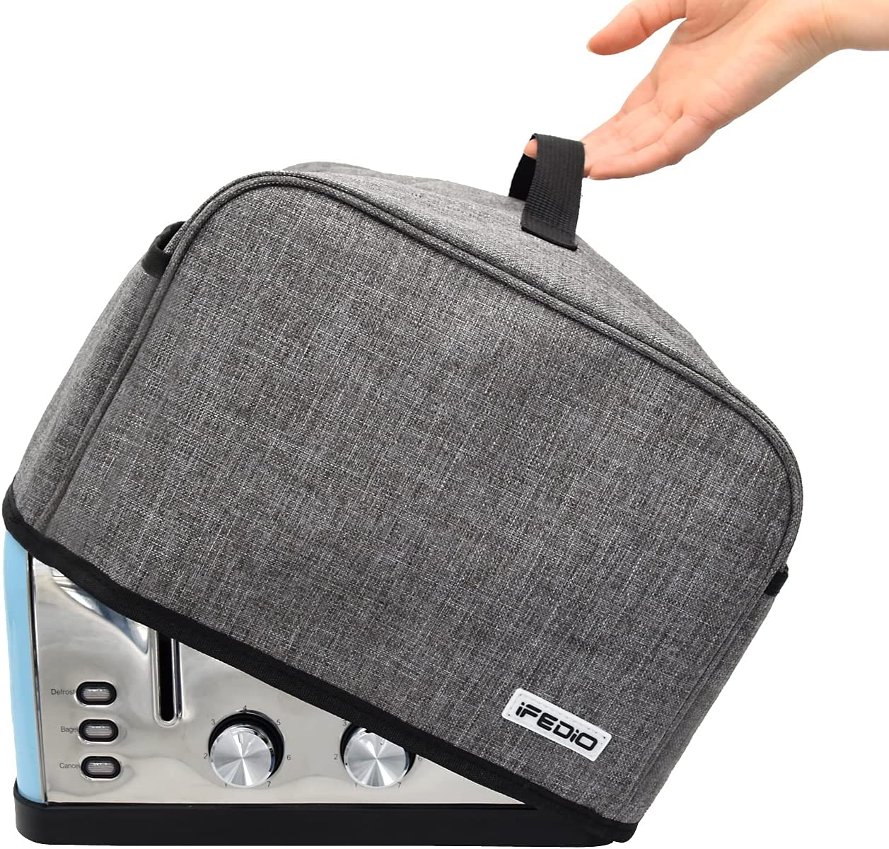 4 Slice Toaster Cover with Pockets & Top Handle,Small Appliance Toaster Dust Cover , Machine Washable(Grey)