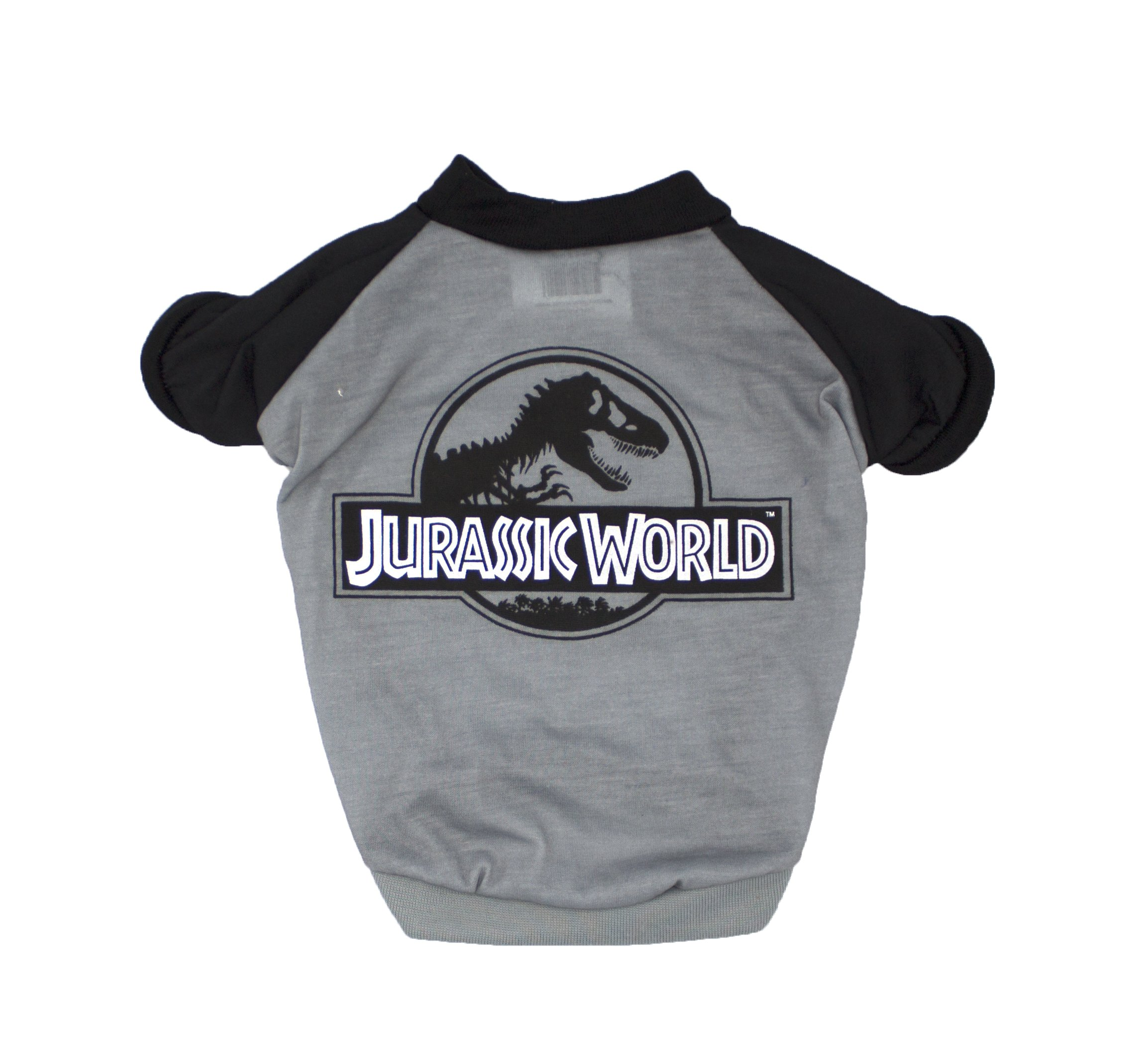 Jurassic World Logo Tee for Dogs | Dinosaur Dog T-Shirt, Large, Gray and Black Print