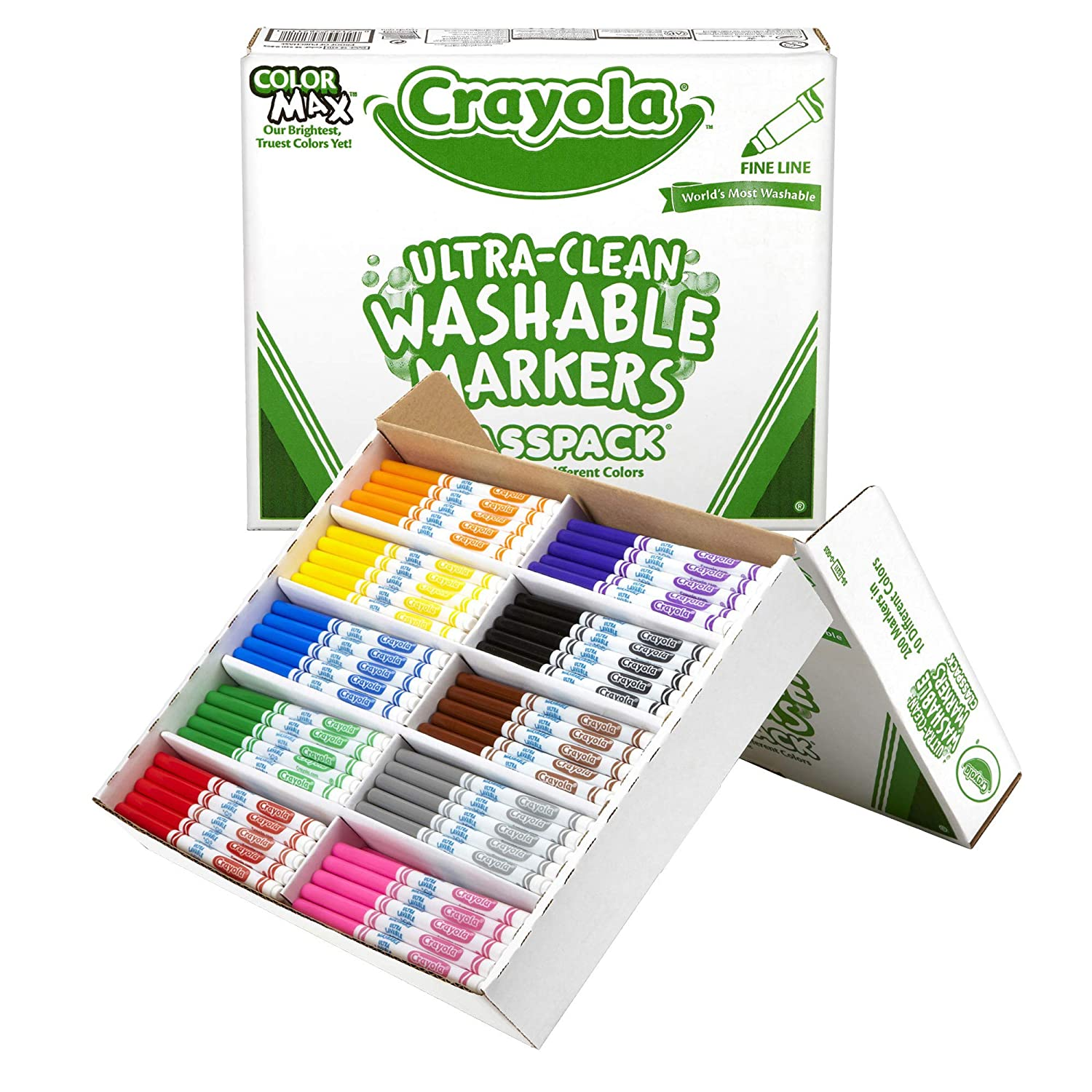 Crayola BIN588211 Ultra-Clean Washable Markers Classpack, Fine Line, 10 Colors, Pack of 200 58-8211