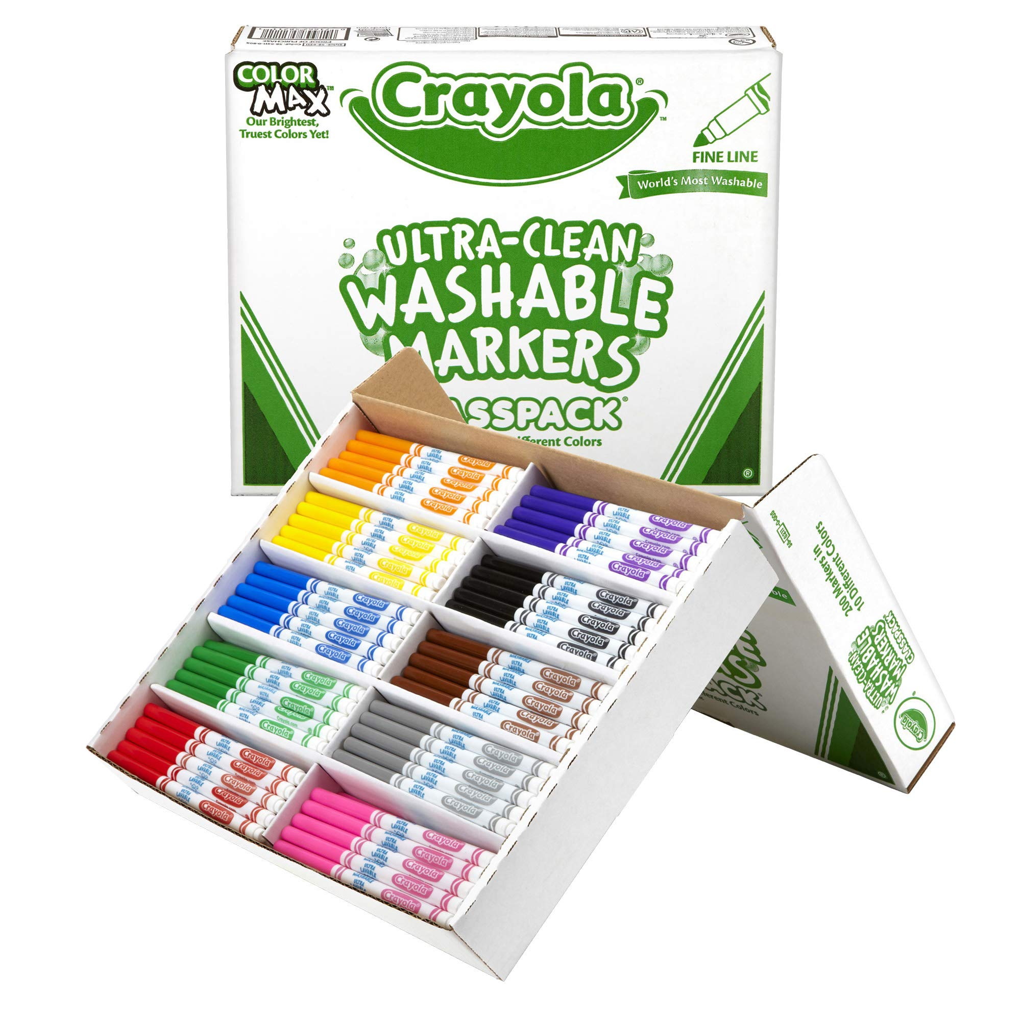 Crayola Ultra Clean Washable Markers, School Supplies Classpack, Fine Line, 10 Colors, Pack of 200 by Crayola