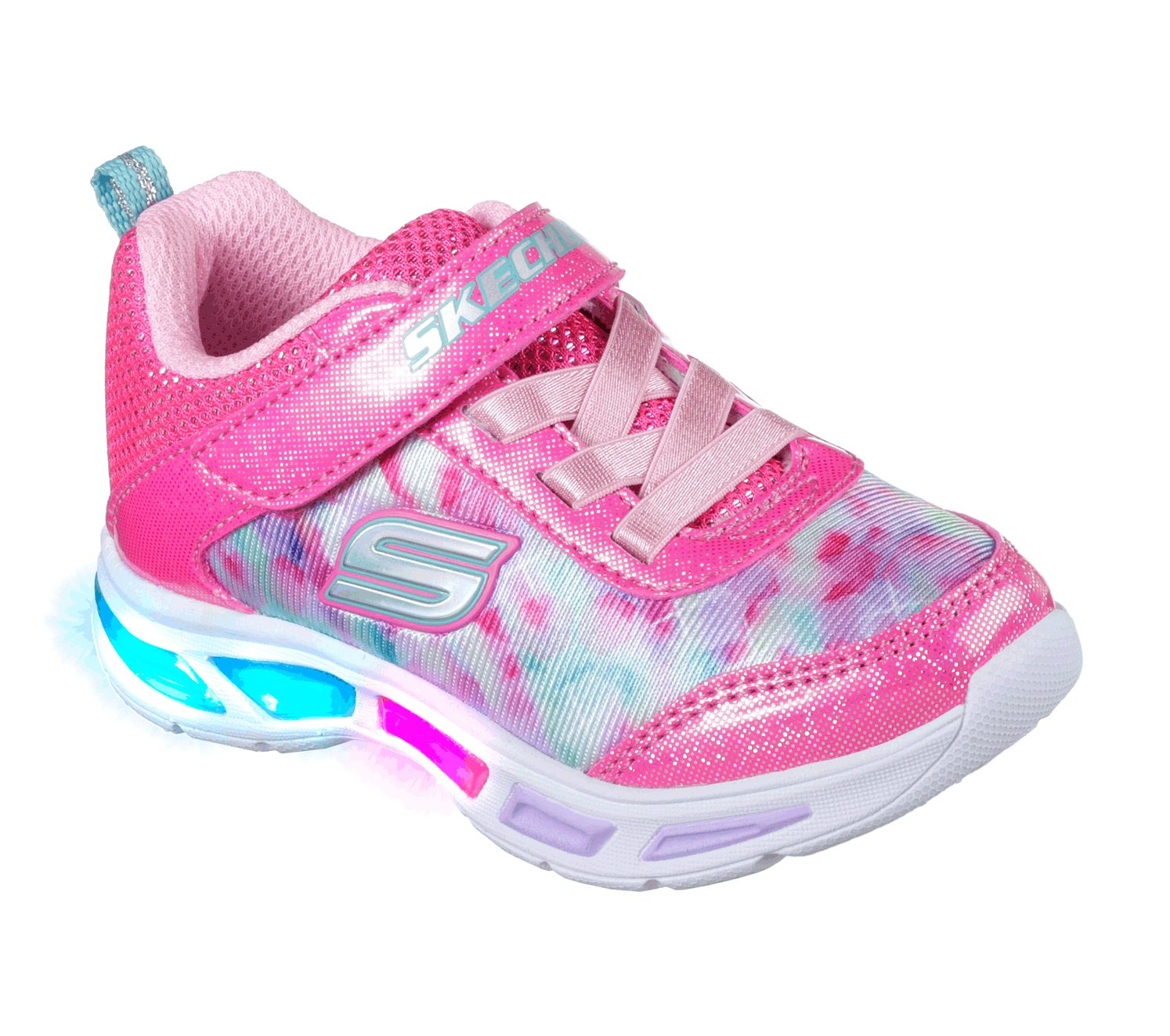 Skechers Kids Girls' Litebeams-Dance N'Glow Sneaker,neon Pink/Multi,1 Medium US Little Kid by Skechers