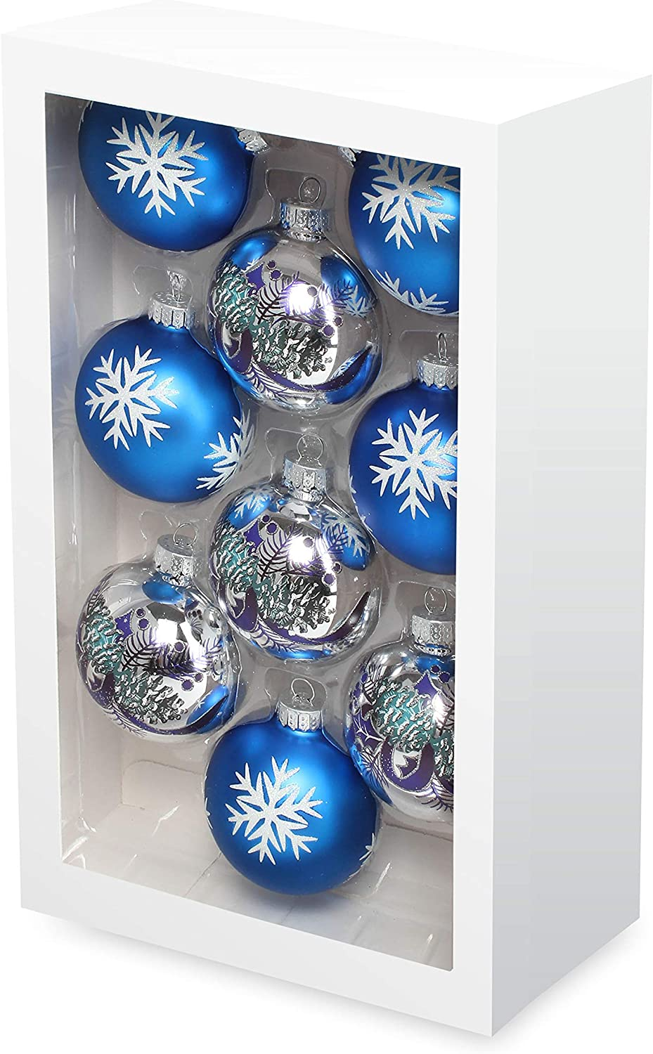 Costyleen Christmas Decoration Colorful Glass Balls Ornaments Set Festival Home Party Decors Xmas Tree Hanging Pendant Snowflake Leaf Patterns 9pc Blue Silver Printings 2.7in