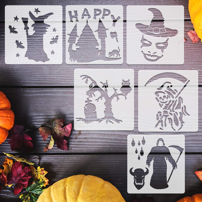 DIY Decorative Pumpkins Design Mould Set Reusable Plastic Craft for Painting Drawing Spraying Wood Glass Window Body Journal Scrapbook Mirror Glass Konsait 12Pcs Halloween Stencils Templates