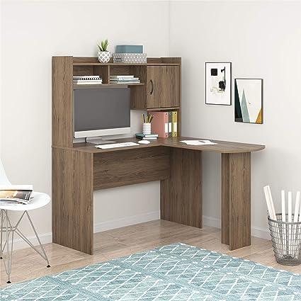 Mainstays Student Desk - Home Office Bedroom Furniture Indoor Desk - Easy  Glide Accessory Drawer (Desk Only, Rodeo Oak) (L-Shaped Desk, Rustic Oak)