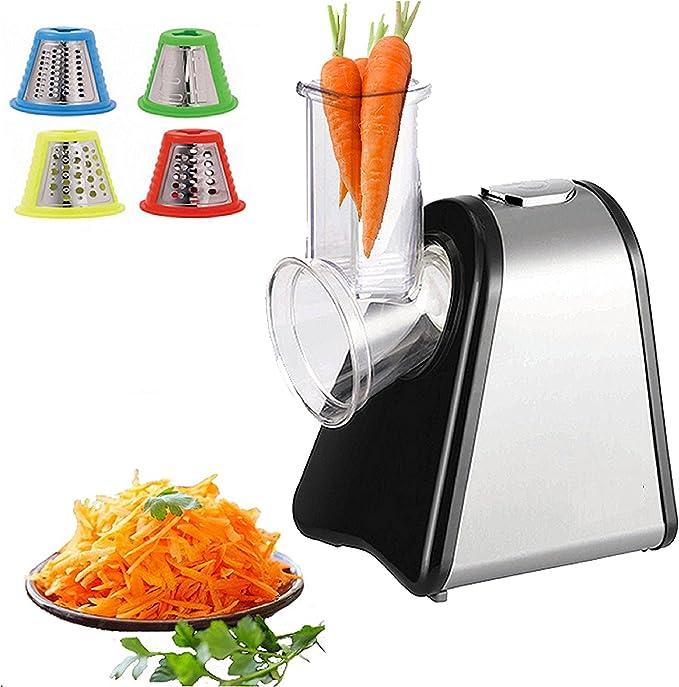 Acoplador De Verduras   Robot de cocina   Rallador de cocina   multifunción Rallador   verduras rallador, 200 W, Tambor de acero inoxidable, 4 cabezales,: Amazon.es: Hogar