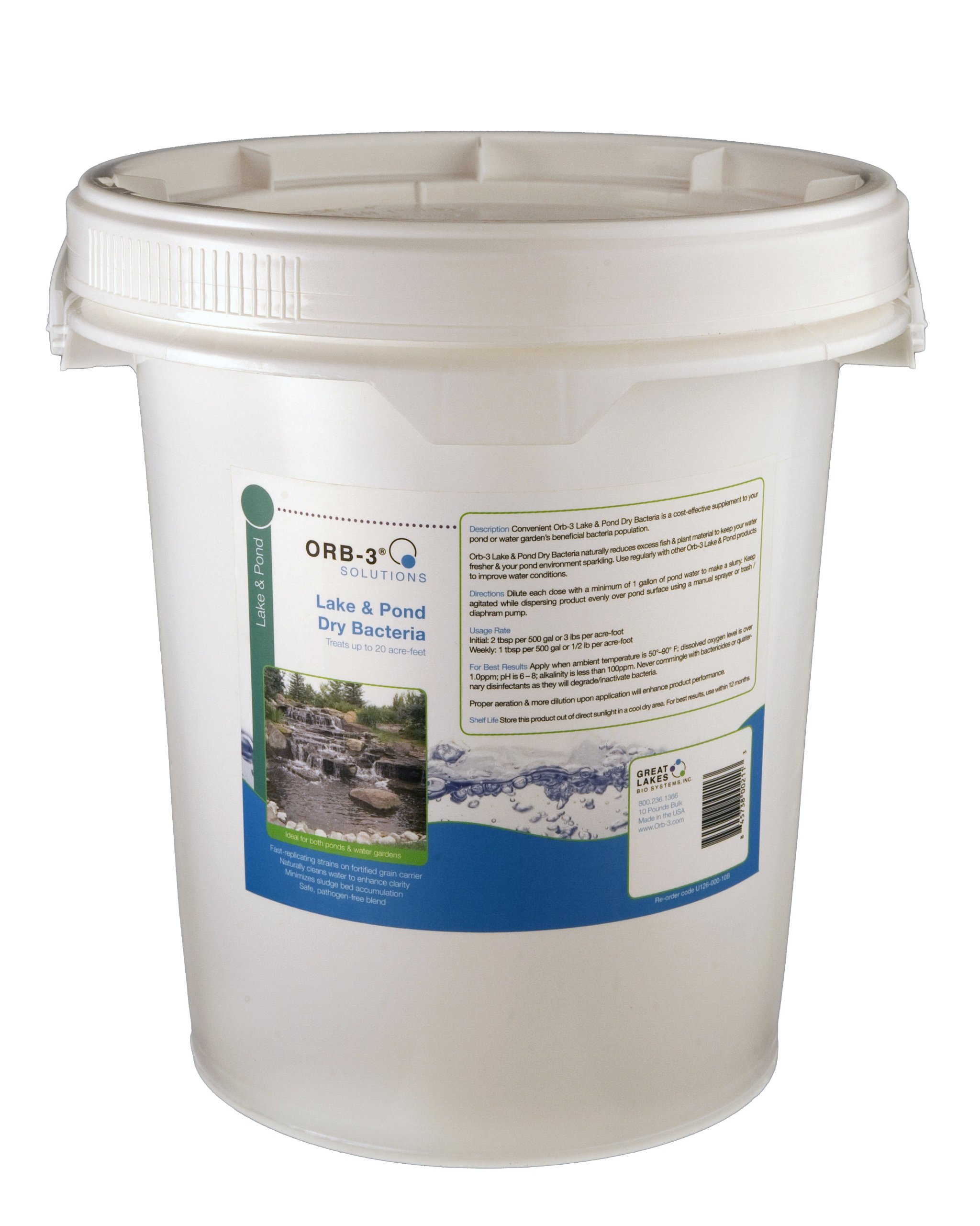 Orb-3 Lake and Pond Dry Bacteria Pail Bulk, 10-Pound by Orb-3