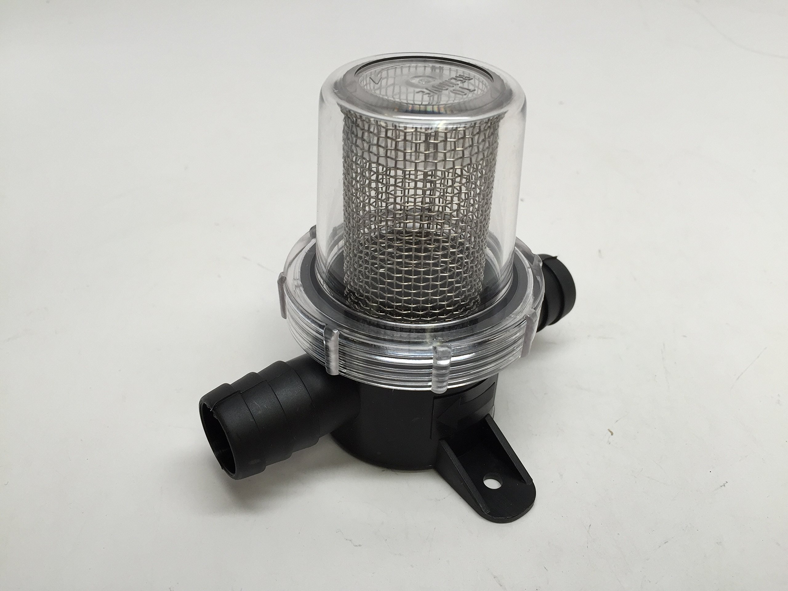 MARINE BOAT PC IN-LINE STRAINER SS LARGE MESH FILTER FOR 0.74'' HOSE CLEAR COVER