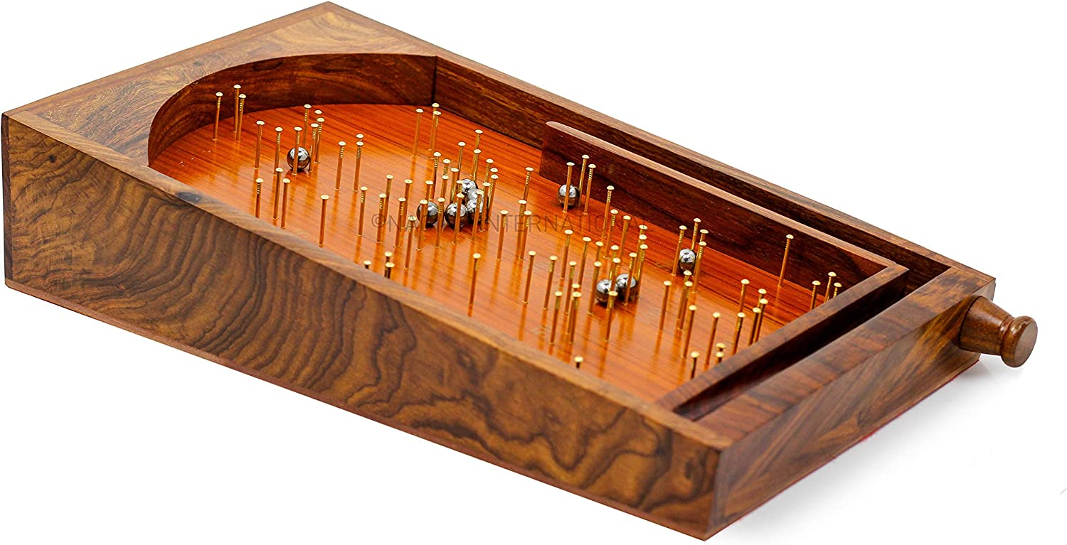 Nagina International, Bagatelle Traditional Table Top Game 30cm x 45cm Solid Wood/Brass Pinball Game
