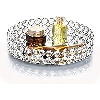 Feyarl Bandeja decorativa redonda con perlas de cristal