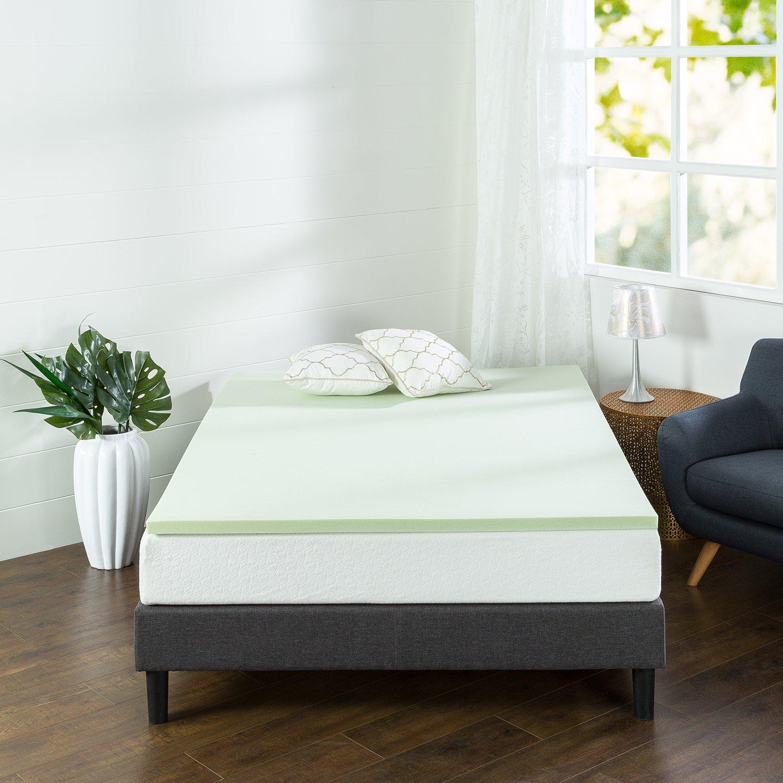Zinus 1.5 Inch Green Tea Memory Foam Mattress Topper, Full