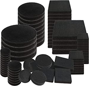 Lucleag Non Slip Furniture Pads, 64 Pieces Felt Rubber Furniture Pads, Multiple Sizes Round Square Shape Self Adhesive Anti Skid Furniture Grippers Furniture Floor Protectors Furniture Stoppers