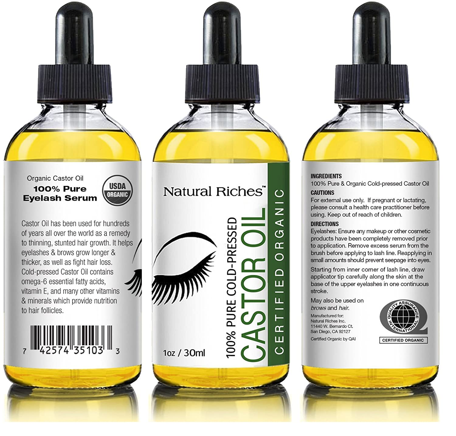 Pure Organic Cold Pressed Castor Oil For Eyelashes Growth Serum
