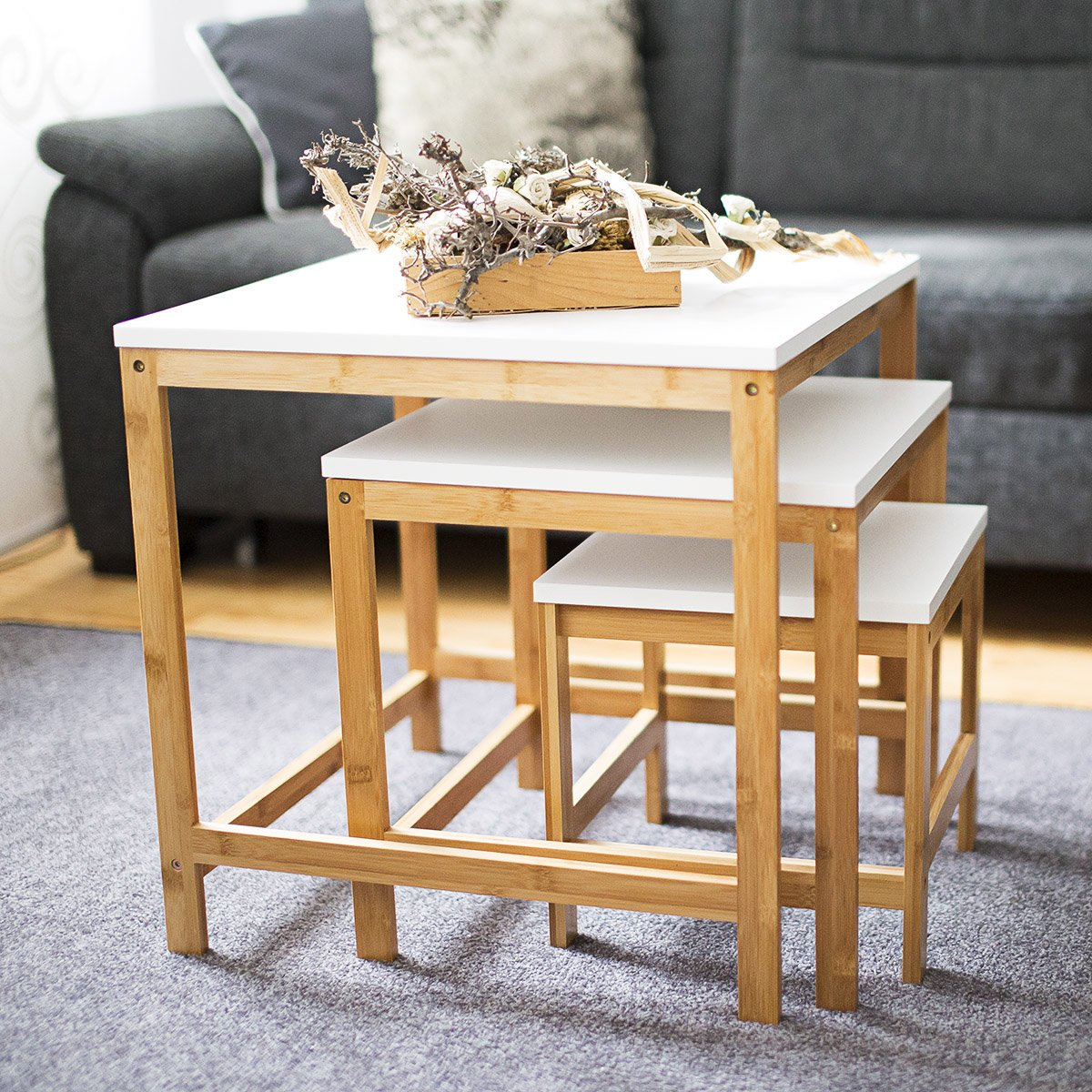 Faszinierend Wohnzimmertisch Holz Galerie Von Relaxdays Beistelltisch Bamboo 3-satztisch Holz- & Weiss
