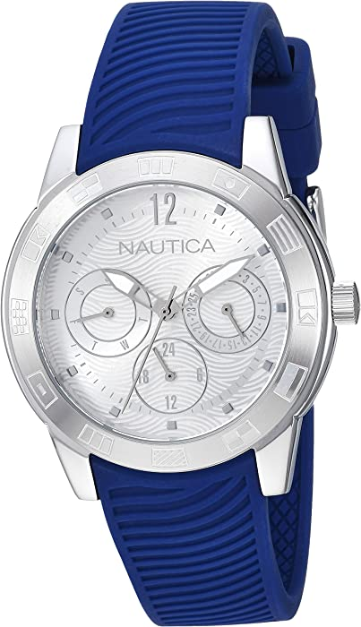 Nautica Men s  Long Beach Collection  Quartz Stainless Steel and Silicone  Casual Watch 1131394357