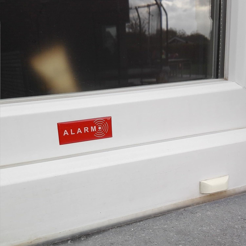 - 19 mm x 49 mm Ultra r/ésistant aux griffures UV Epaisseur 2 mm Gel Decooo.be Lot de 5 Autocollants Alarm Dissuasif pour Les Voleurs Pluie