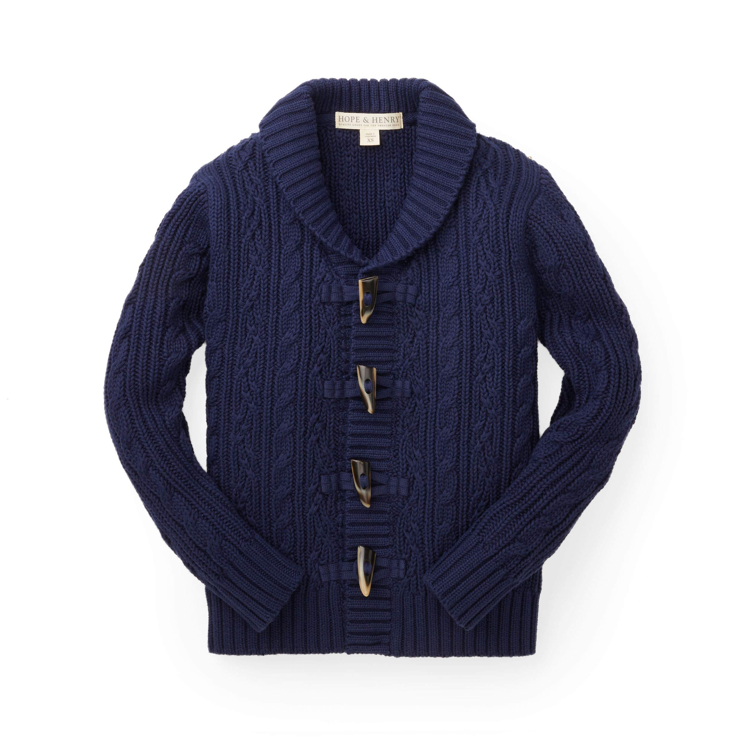Hope & Henry Boys Navy Shawl Collar Cable Sweater by Hope & Henry (Image #1)