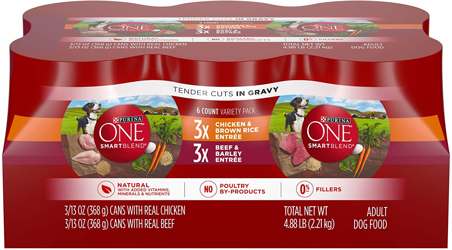 Purina ONE Natural, High Protein Gravy Wet Dog Food Variety Pack, SmartBlend Tender Cuts in Gravy – 2 Packs of 6 13 oz. Cans