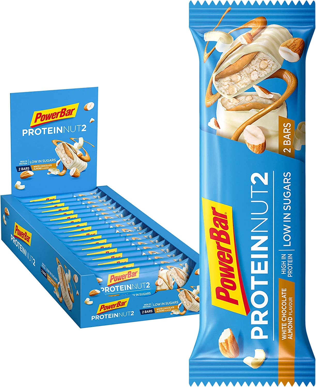 PowerBar Protein Nut2 White Choco Almond 18x(2x22,5g) - Barras de Proteína con Bajo Contenido de Azúcar