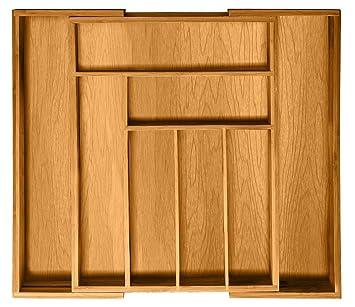 Bambüsi - Organizador ampliable para cubiertos de cajón de 100% de bambú moso para mantener