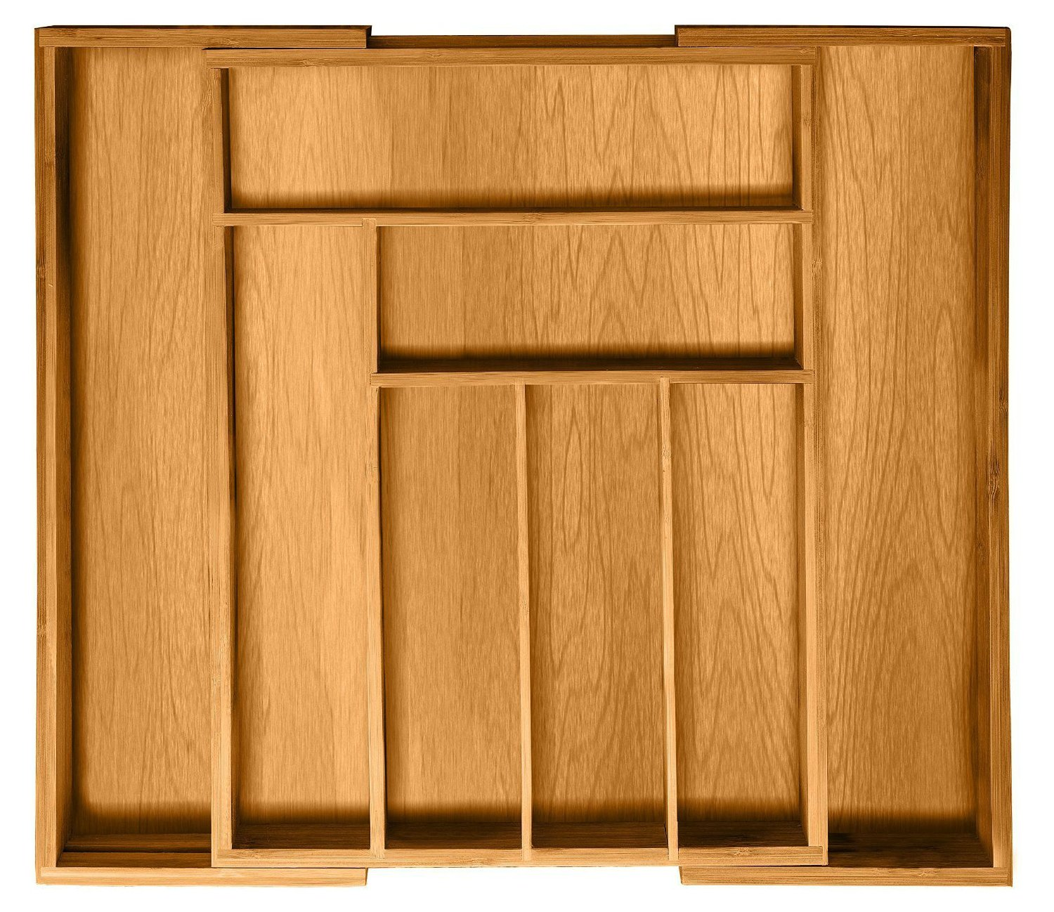 Bamboo Kitchen Utensil Drawer Organizer - Expandable Silverware Tray Cutlery Organizer | 8-Compartments Flatware Holder
