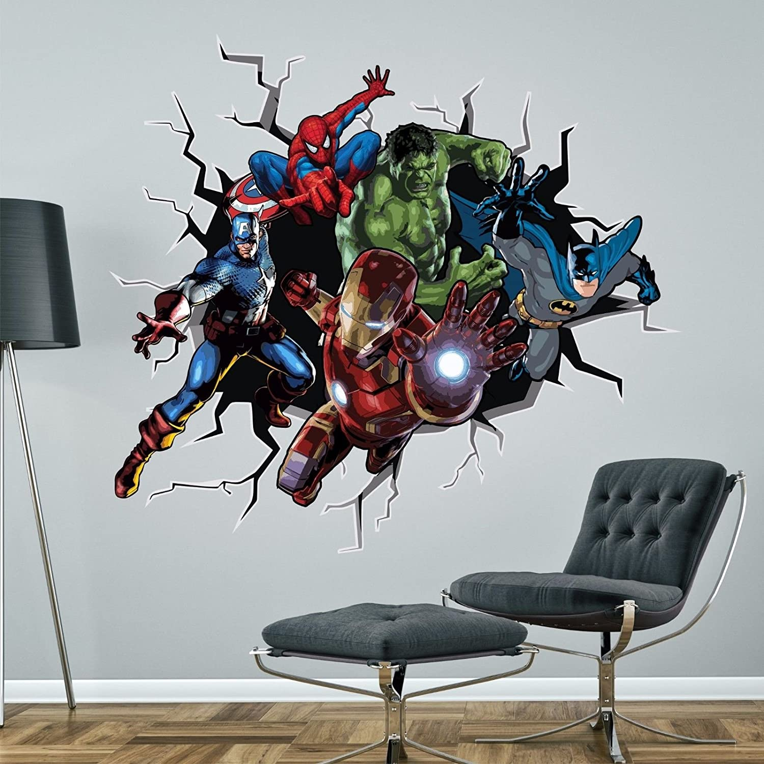 Superheroes Breaking Through Wall Sticker BATMAN HULK SPIDERMAN CAPTAIN AMERICA IRONMAN MARVEL Decal Mural (Medium - 91cm high x 100cm wide)