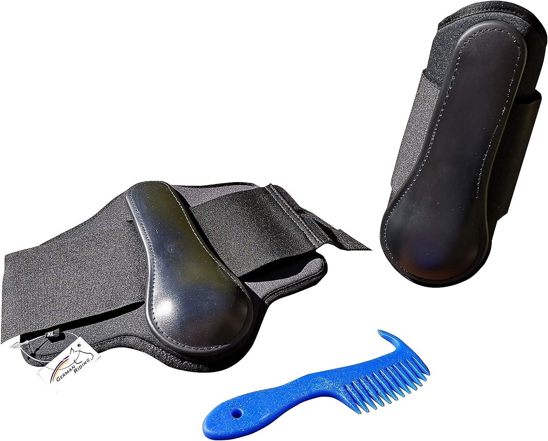 Markgraf - Juego de Botas de Neopreno para Caballo, Color Negro y Peinado Haas Man