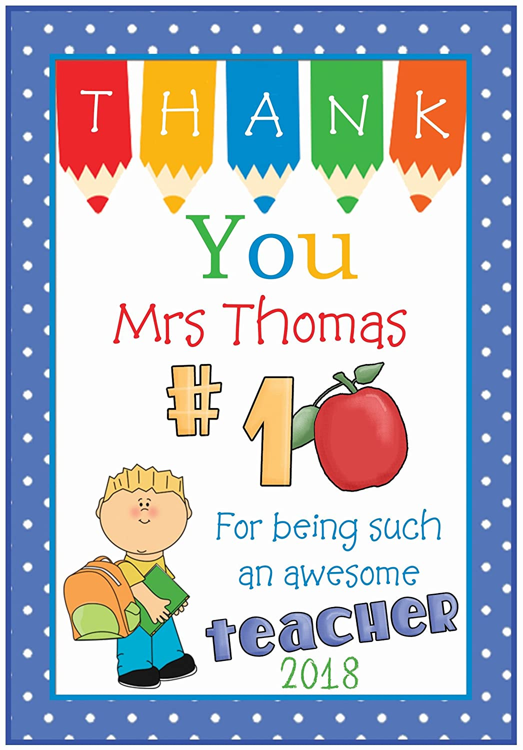 Personalised Thank You Teacher Cards Minions Amazing !