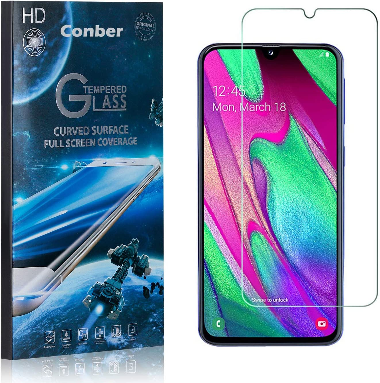 Conber Anti-Shatter 2 Pack Scratch-Resistant Screen Protector for Samsung Galaxy A40, Case Friendly Premium Tempered Glass Screen Protector for Samsung Galaxy A40