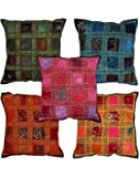 Vintage Light Weight Cushion Cover Set di 5 copricuscino decorativo 40x40 Cotone cuscino Divano Decorativo Etnico Pillow Cases By Rajrang