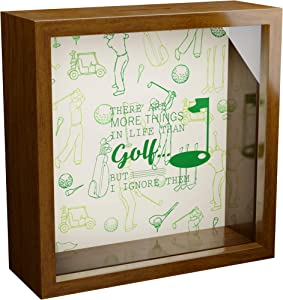 "Golf Gifts for Men | 6x6x2"" Wooden Shadow Box 