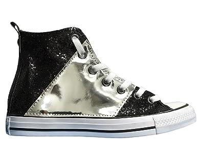 Converse all Star con Applicazione di Tessuto Glitter Nero e Lamina Argento  - Stripe Edition  Amazon.it  Scarpe e borse 127756120b9