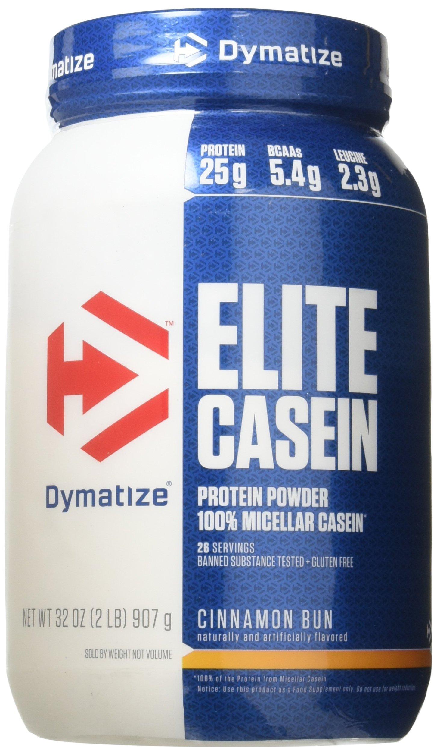 Dymatize Elite 100% Micellar Casein Slow Absorbing Protein, Cinnamon Bun, 2 lbs